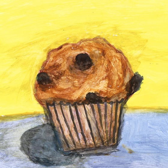 Painting of a wonky muffin