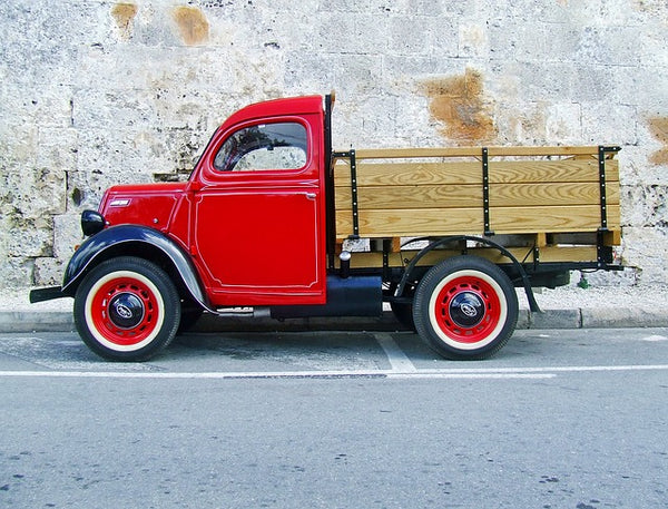 Image of a red vintage ute