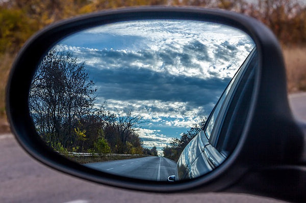 Stunning scenery photographed in a car's rear vision mirror
