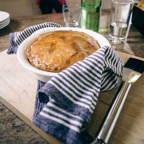 ready made home delivery meals featuring a pie in a bowl on table, meals delivered to your door
