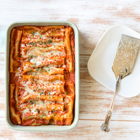 Broccoli & Ricotta Cannelloni. Dinner on the Table family style meals delivered to your door