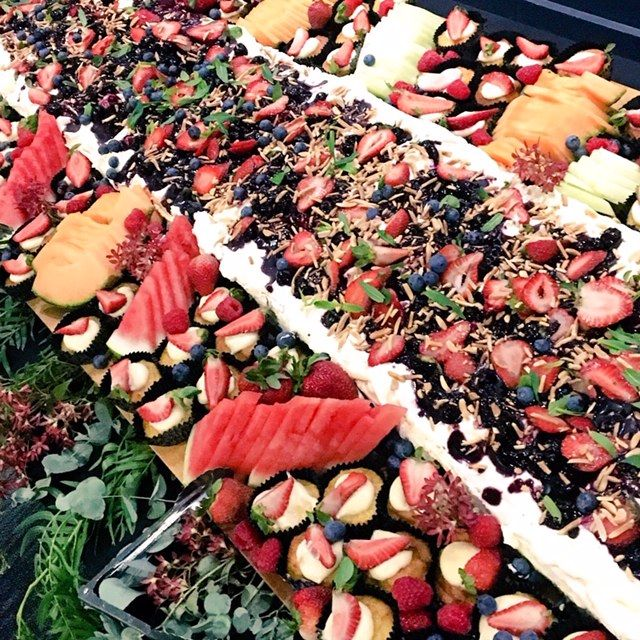 sample event catering of canape on a long table