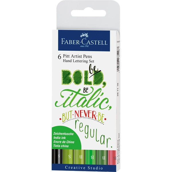 Faber-Castell Pitt Artist India Ink Hand Lettering Greens Set