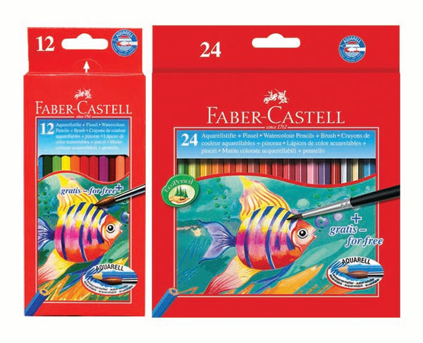 Colouring Pencils, Aquarelle - Faber Castell Faber Full Length Aquarelle Colouring Pencils - 12's