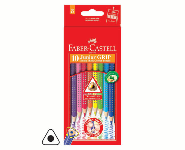 Colouring Pencils, Junior Grip - Faber Castell Faber Full Length Triangular Junior Grip Colour Pencils - 10's