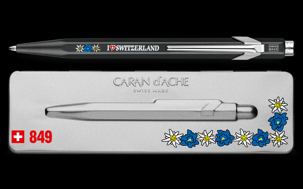 Caran d'Ache Popline Totally Swiss Ballpoint Pen - Edelweiss with boxing