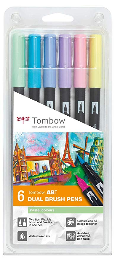 Tombow Brush Pen Set 6's Pastel Colours
