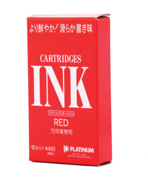 Platinum Fountain Pen Ink Cartridges Red