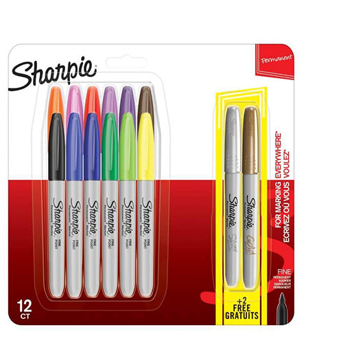 Sharpie Set of 12 Plus 2 Metallics Assorted Markers Fine