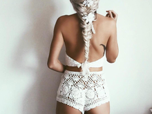 Load image into Gallery viewer, Cream Crochet Gypsy Bikini Set