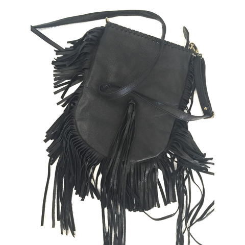 Arrow Divine Black Leather Tassel shoulder bag