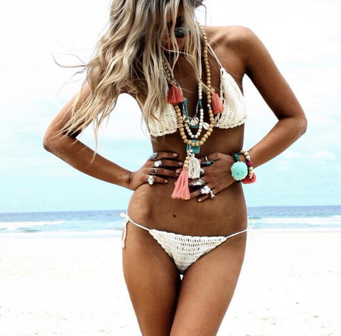 Cream Crochet Triangle String Bikini Set