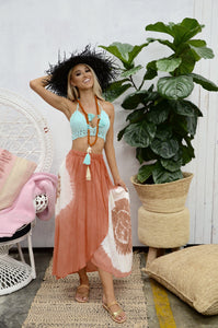 Coral Tie Dye Maxi Skirt