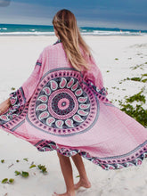 Load image into Gallery viewer, Pink Mandala Long Beach Kimono
