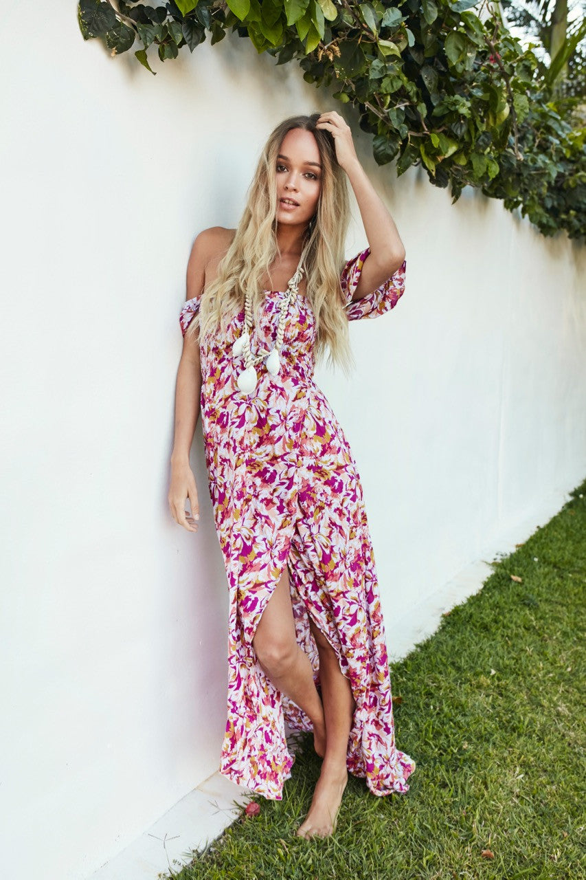 Pink Botanica Mermaid Maxi Dress