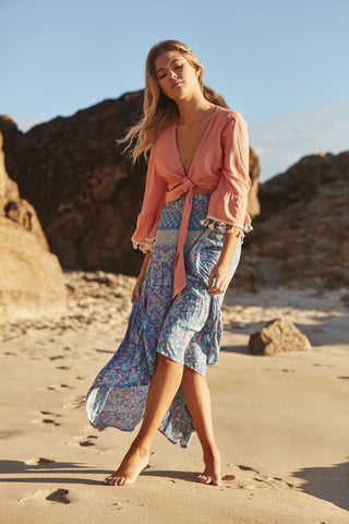 Ocean Rose Frill Wrap Skirt
