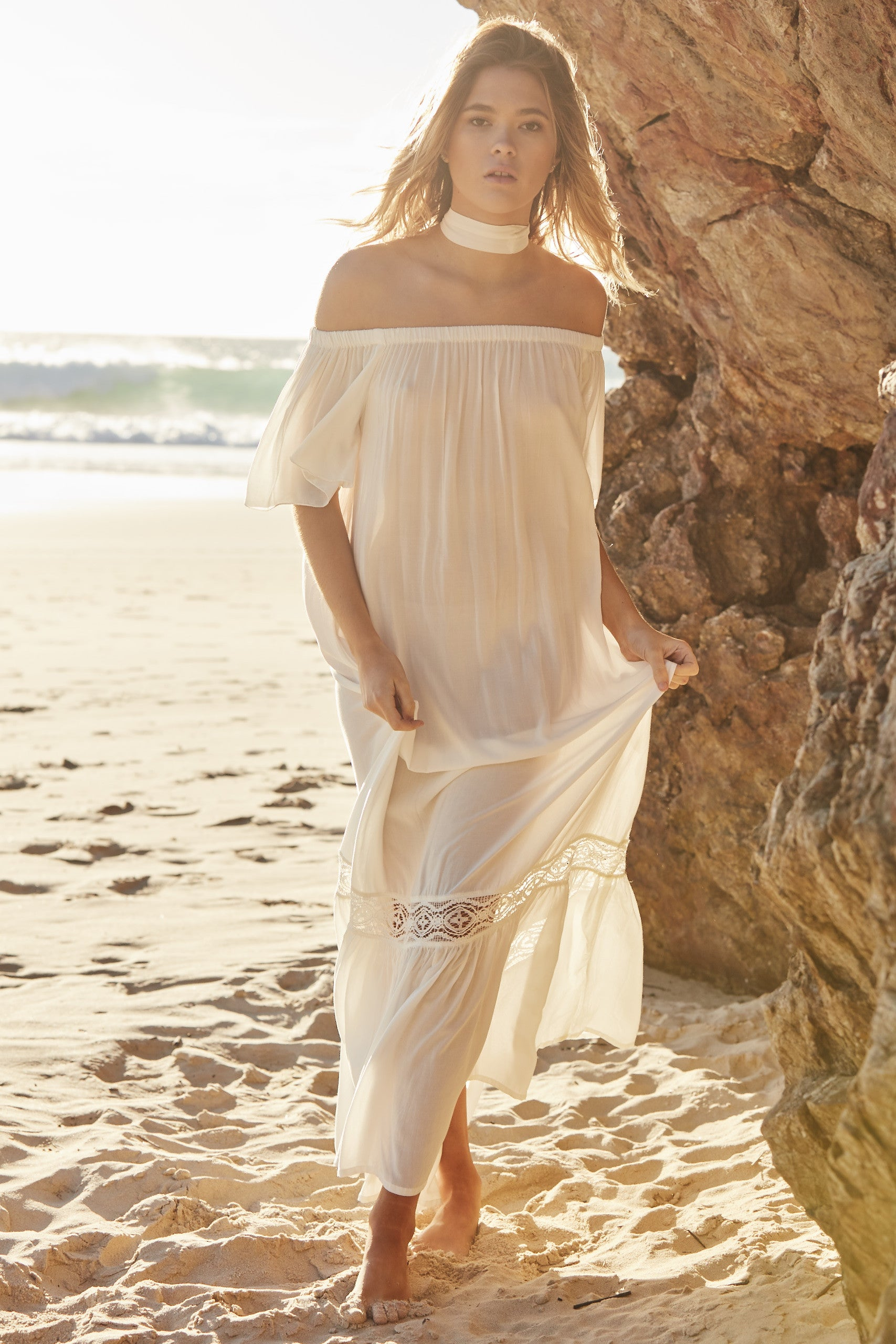 White Temple Off the Shoulder Maxi