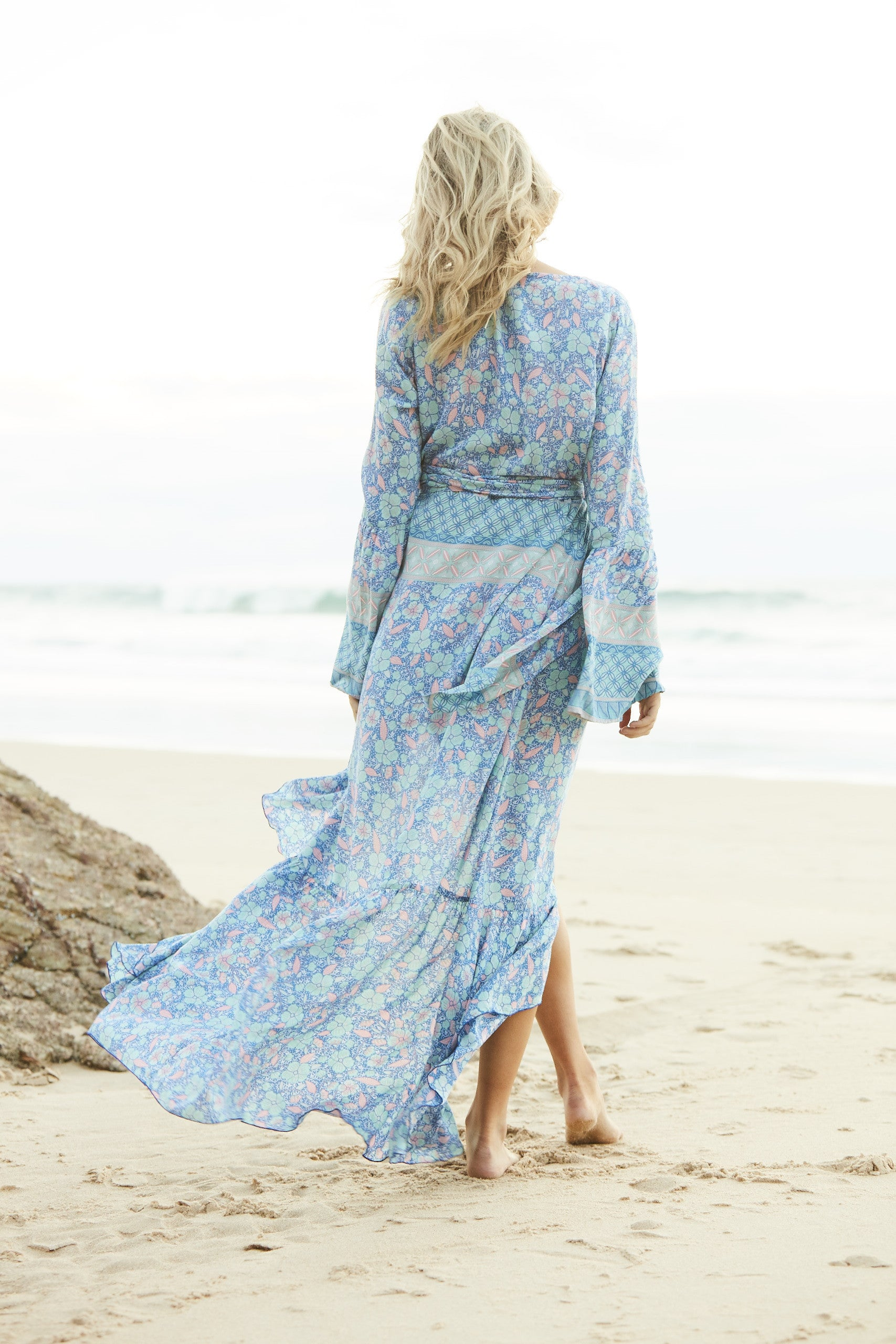 Ocean Rose Mermaid Wrap Maxi Dress