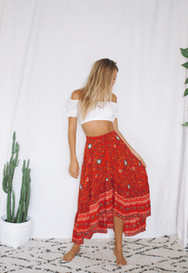 Red Festoon Frill Skirt