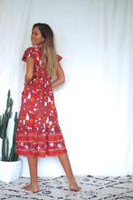 Load image into Gallery viewer, Red Festoon Wrap Dress