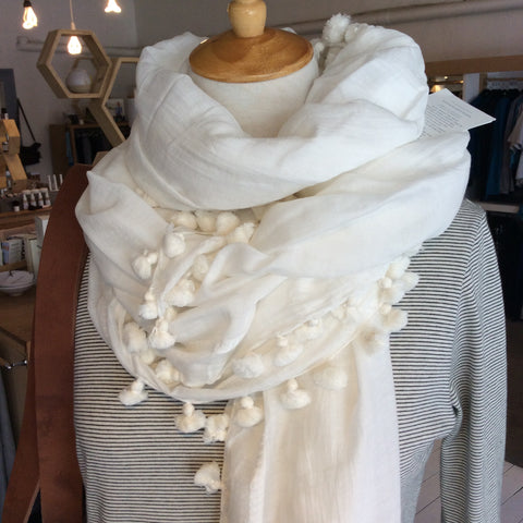 Silk and cotton blend pom pom scarf by Cloth & Co - sustainable ethical luxury