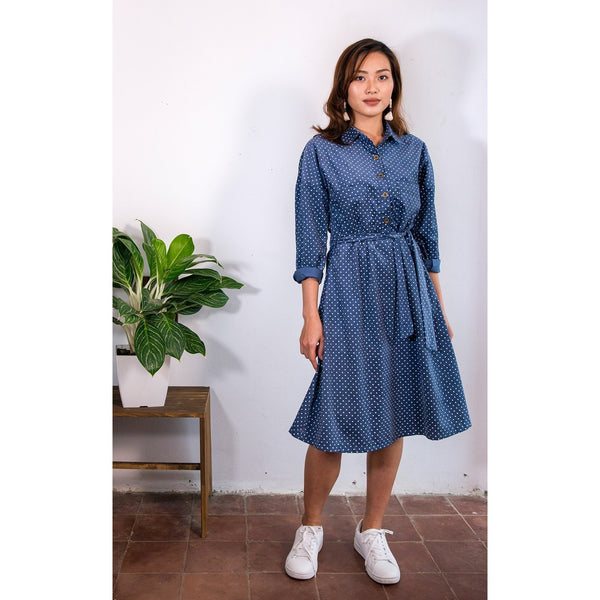 Blue cord dress, made ethically in Vietnam