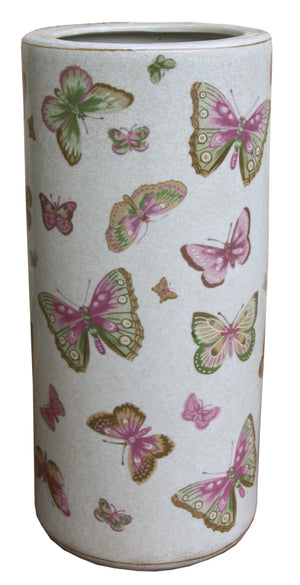 Ceramic Umbrella Stand, Butterfly Design