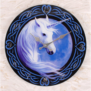 Celtic Unicorn Glass Wall Clock
