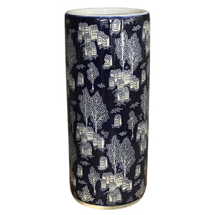 Ceramic Embossed Umbrella Stand, Blue/Natural Village Design