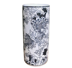 Ceramic Embossed Umbrella Stand, Blue/White Koi Design