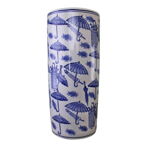 Umbrella Stand, Vintage Blue & White Umbrella Design