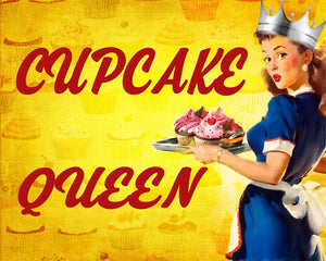 Vintage Metal Sign - Pin Up Girl, Cupcake Queen