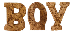 Hand Carved Wooden Flower Letters Boy
