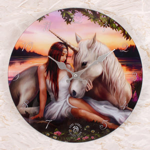 Pure Heart Unicorn Glass Wall Clock