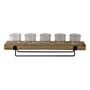 5 Piece Glass, Wood & Metal Tealight Holder