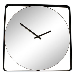 Mirror Clock With Black Metal Frame