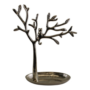 Silver Metal Tree With Cat Jewellery Stand