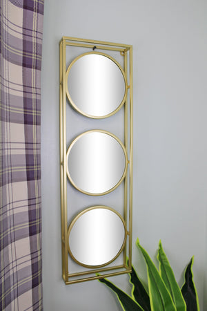 Golden Metal Framed Triple Mirror