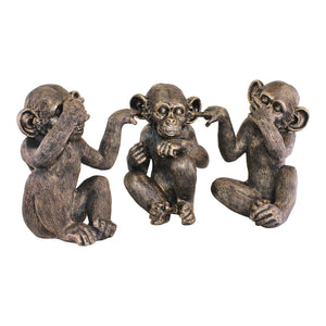 Set Of Three Large Distressed Resin Monkey Ornaments