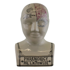 Large Ceramic Crackle Phrenology Head