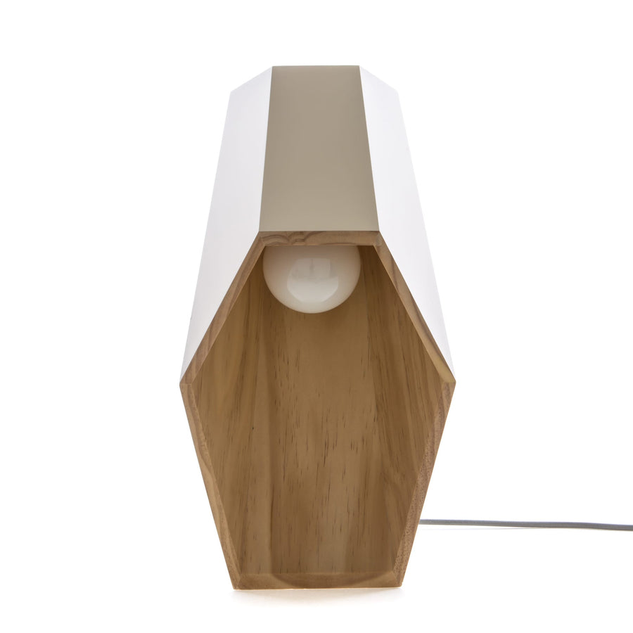 "Seletti ""Woodspot"" Wooden Table Lamp CM22X23 H 44 - White"