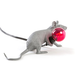 gray mouse lamp laying seletti
