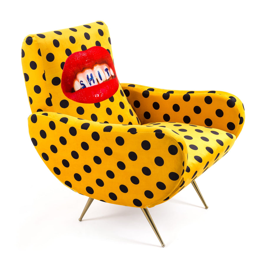 "Armchair Upholstered ""Shit"" Toiletpaper"