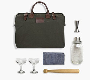 "W&P Design Cocktail Kit in Luxury Canvas and Leather Bag ""Green"""