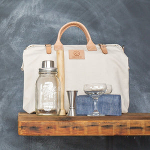 "W&P Design Cocktail Kit in Luxury Canvas and Leather Bag ""Natural"""