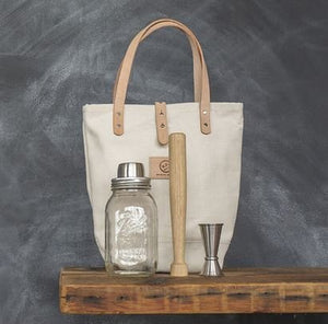 "W&P Design Cocktail Kit in Canvas and Leather Tote Bag ""Cream"""