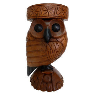 Acacia Wood Hand Carved Owl Table