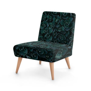 Dark Rose Print Accent Occasional Chair