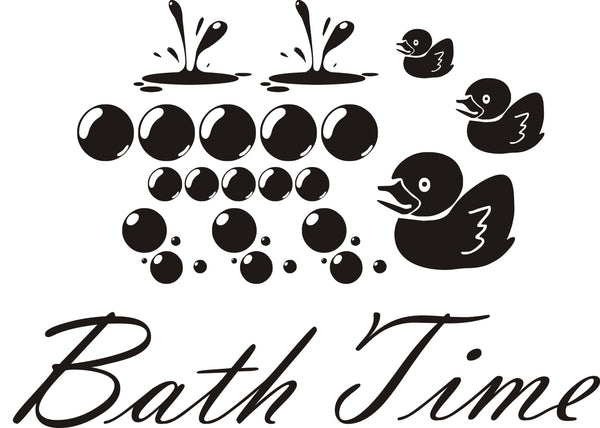 Bath Time Wall Art Sticker Looks Great In The Bathroom