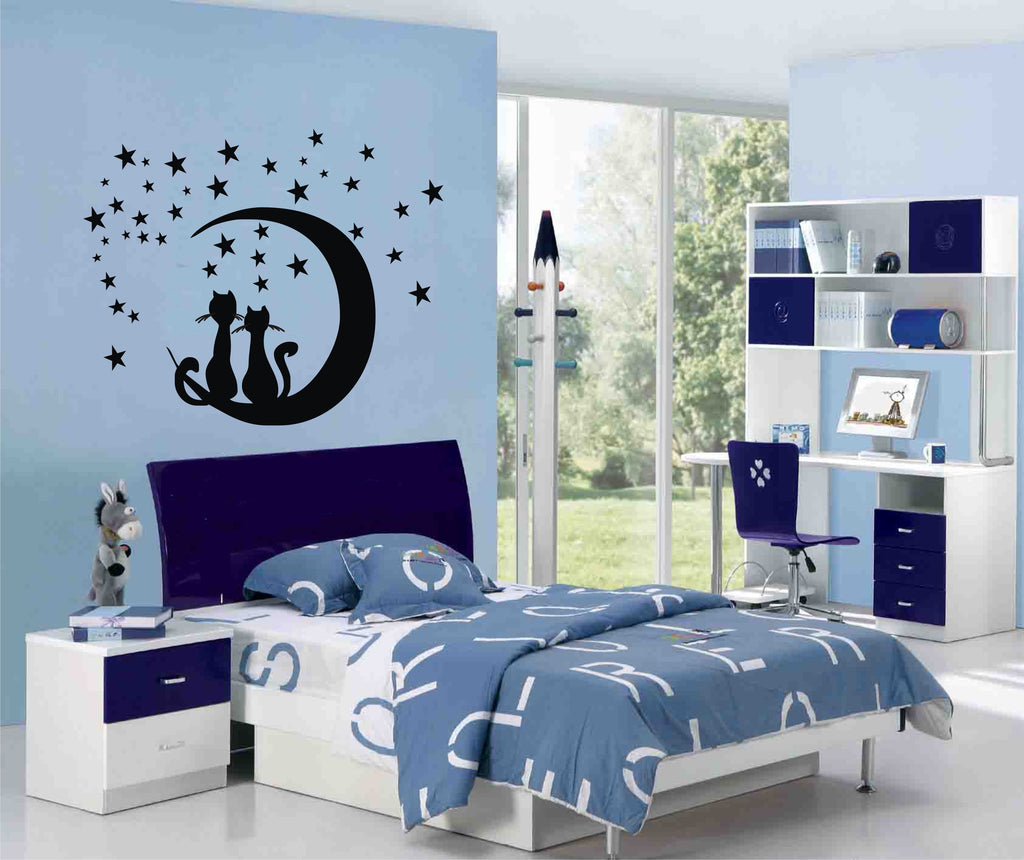 Black Cats sitting on the moon wall sticker